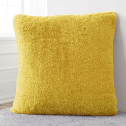 Large Luxury Faux Rabbit Fur Soft Plush Filled Cushion Plain Ochre Mustard 56cm x 56cm